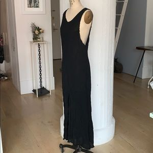 Reformation black chiffon sheer dress raw edge xs